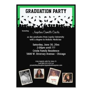 Fiesta de graduación verde y negra de la silueta invitación 12,7 x 17,8 cm