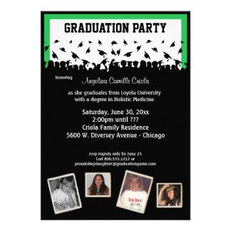Fiesta de graduación verde y negra de la silueta invitación