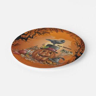 Fiesta de Halloween del cuervo Plato De Papel