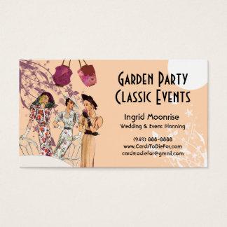 Fiesta de jardín en melocotón y ciruelo tarjeta de negocios