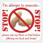Fiesta de la alergia del cacahuete o advertencia d colcomanias cuadradases