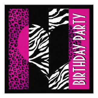 Fiesta de la cebra del leopardo de las rosas fuert comunicados personalizados