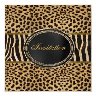 Fiesta de la cebra del leopardo invitación 13,3 cm x 13,3cm