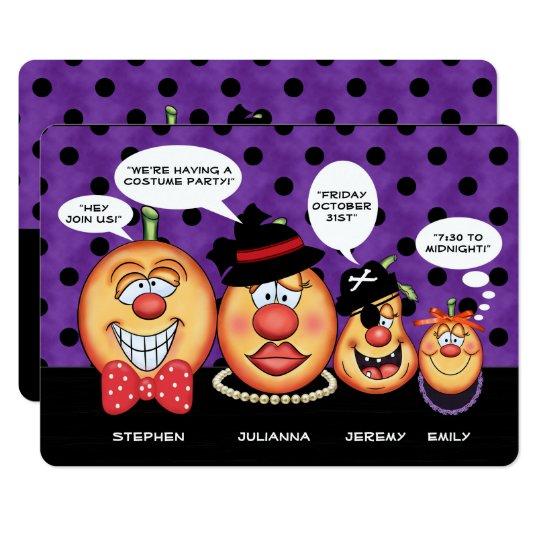 Fiesta de la familia el | Halloween de la calabaza Invitación 12,7 X 17,8 Cm