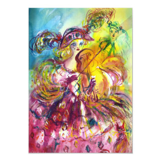 Fiesta de la mascarada del carnaval del VIOLINISTA Invitación 12,7 X 17,8 Cm