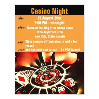 Fiesta de la noche del póker del casino invitación 10,8 x 13,9 cm