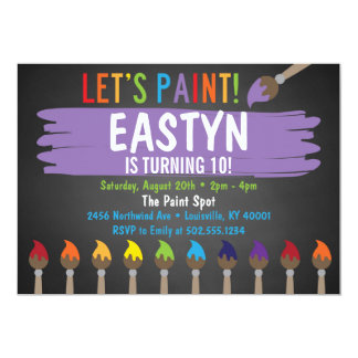 Fiesta de la pintura de la pizarra/fiesta invitación 12,7 x 17,8 cm