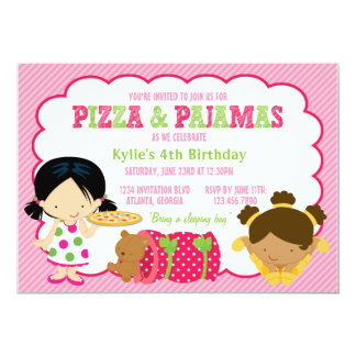 Fiesta de la pizza y del Sleepover de los pijamas Invitación Personalizada