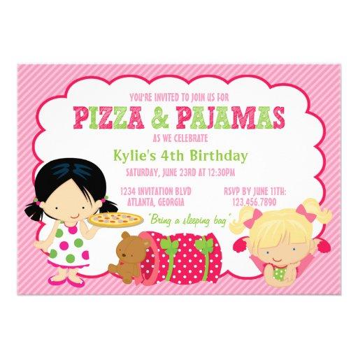 Fiesta de la pizza y del Sleepover de los pijamas Comunicado Personal