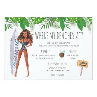 Fiesta de la playa de la resaca de Bachelorette de Invitación 12,7 X 17,8 Cm