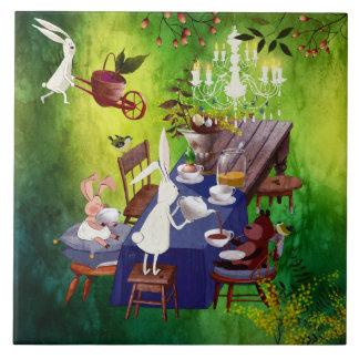 Fiesta de la primavera del conejito en el ejemplo azulejo