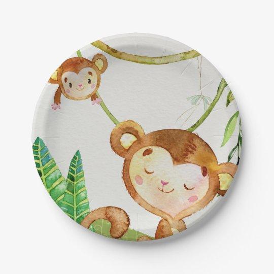 Fiesta de la selva del mono plato de papel