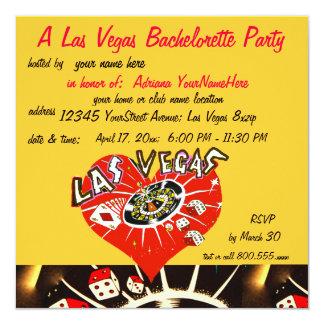 Fiesta de Las Vegas Bachelorette rojo y amarillo Invitación 13,3 Cm X 13,3cm