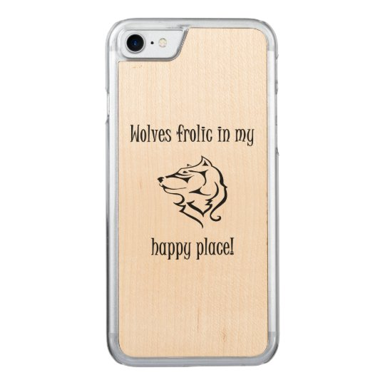Fiesta de los lobos en mi lugar feliz funda para iPhone 7 de carved