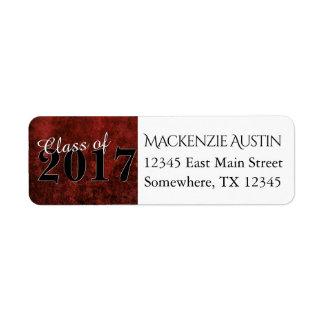 Fiesta de mármol rojo y negro de rubíes del etiqueta de remitente
