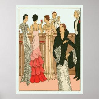 Fiesta de Martini del art déco del vintage Posters