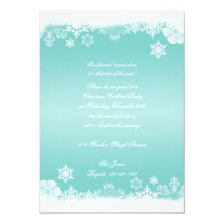 Fiesta de Navidad azul clara y blanca del copo de Invitación 12,7 X 17,8 Cm