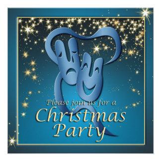 Fiesta de Navidad azul de la máscara del teatro de Anuncios