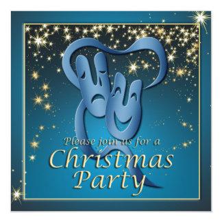 Fiesta de Navidad azul de la máscara del teatro de Invitación 13,3 Cm X 13,3cm
