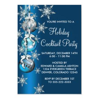 Fiesta de Navidad azul de los ornamentos de los Invitación 12,7 X 17,8 Cm