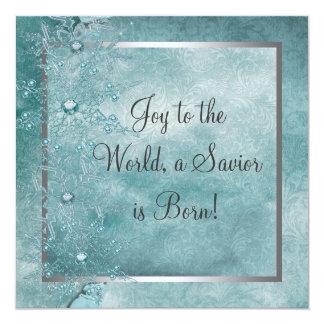Fiesta de Navidad azul del cristiano de los copos Invitación 13,3 Cm X 13,3cm