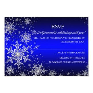 Fiesta de Navidad azul RSVP del copo de nieve de Invitaciones Personalizada