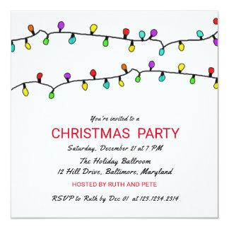Fiesta de Navidad colorida de las luces de navidad Invitación 13,3 Cm X 13,3cm