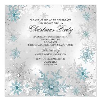 Fiesta de Navidad cristalina de plata azul del Invitación 13,3 Cm X 13,3cm