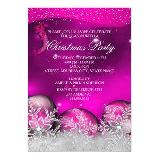 Fiesta de Navidad cristalina del copo de nieve de Invitación 12,7 X 17,8 Cm