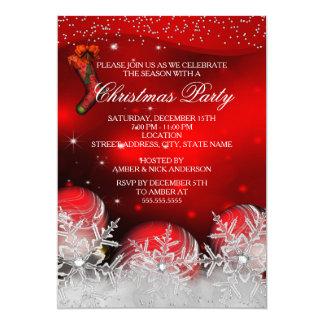 Fiesta de Navidad cristalina roja del copo de Invitación 12,7 X 17,8 Cm