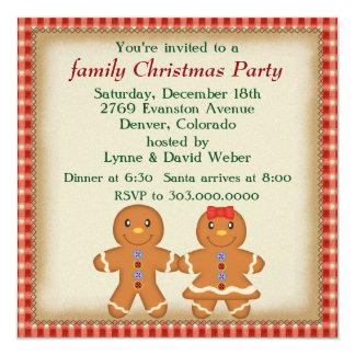 Fiesta de Navidad de la familia del hombre de pan Invitación 13,3 Cm X 13,3cm
