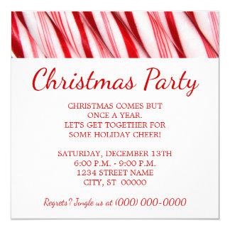 Fiesta de Navidad de los bastones de caramelo Invitación 13,3 Cm X 13,3cm
