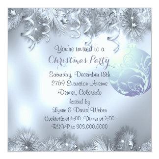 Fiesta de Navidad de plata de la decoración de Invitación 13,3 Cm X 13,3cm