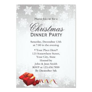 Fiesta de Navidad de plata moderna de los copos de Invitación 12,7 X 17,8 Cm
