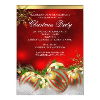 Fiesta de Navidad de plata roja 3 de las Invitación 16,5 X 22,2 Cm