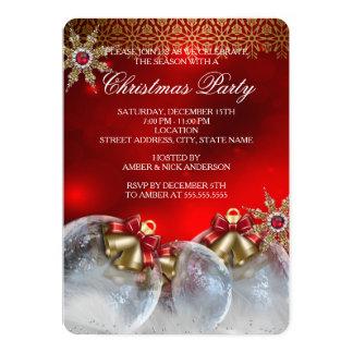 Fiesta de Navidad de plata roja new3 de las Invitación
