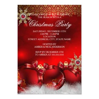Fiesta de Navidad de plata roja new4 de las Invitación Personalizada