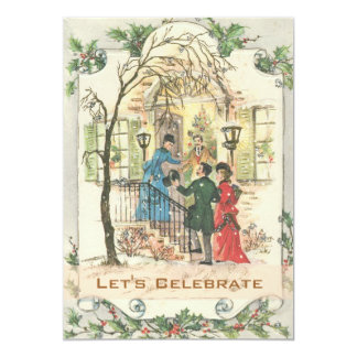 Fiesta de Navidad del día de fiesta del Victorian Invitación 12,7 X 17,8 Cm