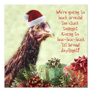 Fiesta de Navidad del pollo de Santa de la granja Invitación 13,3 Cm X 13,3cm
