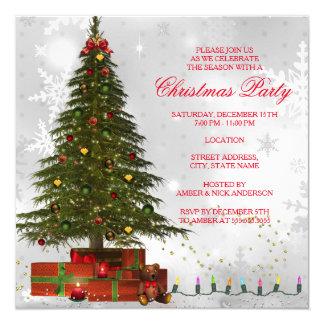 Fiesta de Navidad festiva del árbol rojo de las Invitación 13,3 Cm X 13,3cm