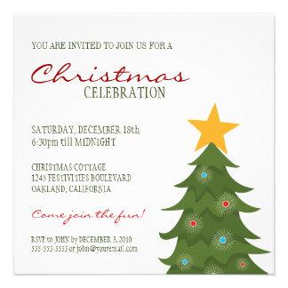 Fiesta de Navidad moderna del árbol de navidad y d Comunicados Personalizados