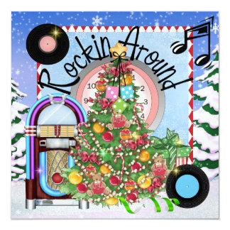 Fiesta de Navidad oscilante - SRF Invitación 13,3 Cm X 13,3cm
