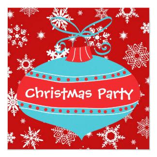 Fiesta de Navidad retra azul del trullo rojo Invitación 13,3 Cm X 13,3cm