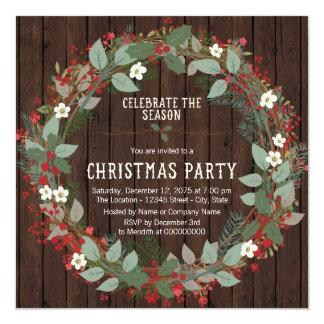 Fiesta de Navidad rústica de la guirnalda del Invitación 13,3 Cm X 13,3cm