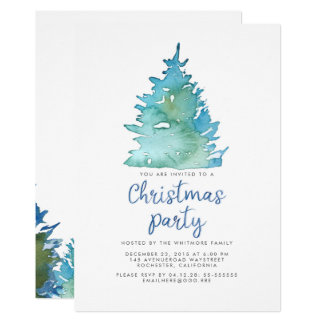 Fiesta de Navidad Spruce de la acuarela Invitación 12,7 X 17,8 Cm