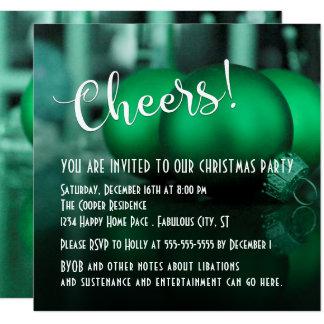 Fiesta de Navidad verde de los ornamentos del Invitación 13,3 Cm X 13,3cm