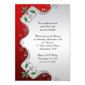Fiesta de Navidad verde de plata roja elegante del Invitación 12,7 X 17,8 Cm