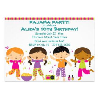 Fiesta de pijama de los chicas invitacion personal