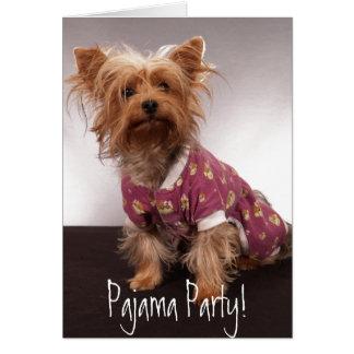 Fiesta de pijama de Yorkie Tarjeta De Felicitación