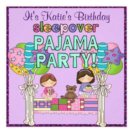 Fiesta de pijama del Sleepover del chica del cumpl Anuncio Personalizado